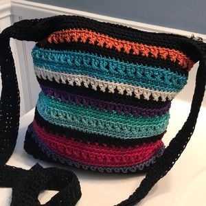 The Sak Multi colored Crochet Boho Crossbody Bag